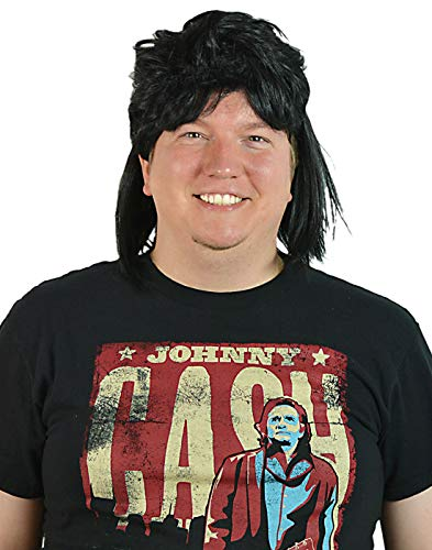 HDE Men's Black Waynes Mullet Wig Adult 80s Hockey Hair Halloween -