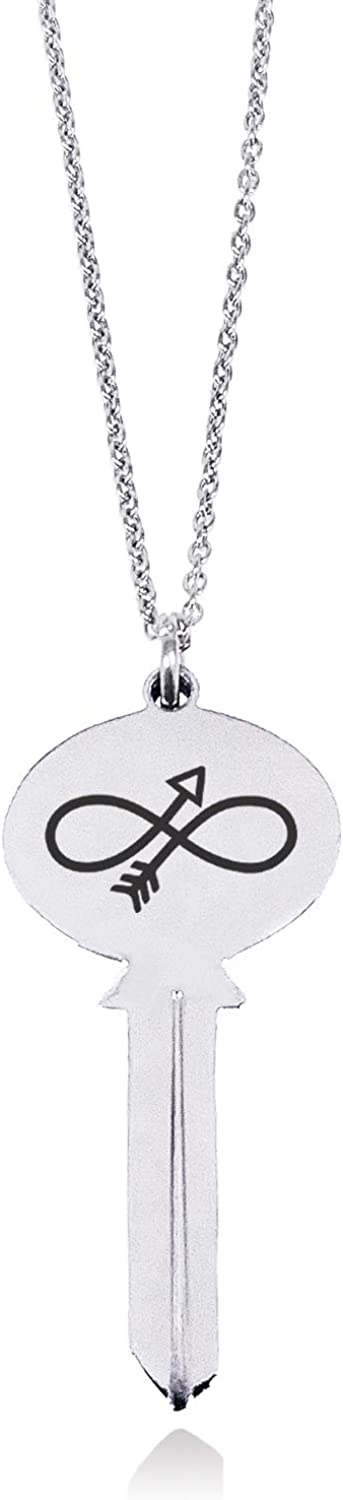 Tioneer Stainless Steel Infinity Arrow Oval Head Key Charm Pendant Necklace