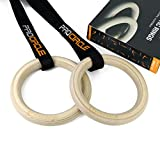 Wood Gymnastic Rings With Adjustable Long Buckles Straps Workout For Home Gym & Cross Fitness