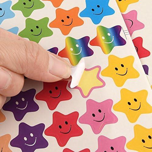 FEPITO 10 Feuille 350 PCS Smiley Star Autocollants Mini Autocollants pour les Enseignants Parents Enfants Artisanat Scrap Livres D/écoration Multi Couleur