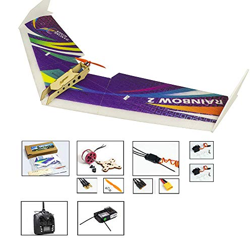 DW Hobby EPP Electric Micro Flying Wing Rainbow ZAGI Plane w/1000mm Wingspan Delta Wing Tail-Pusher Flying Aircraft for Toy Plane Model Aeroplane to Build (E0604-R2)