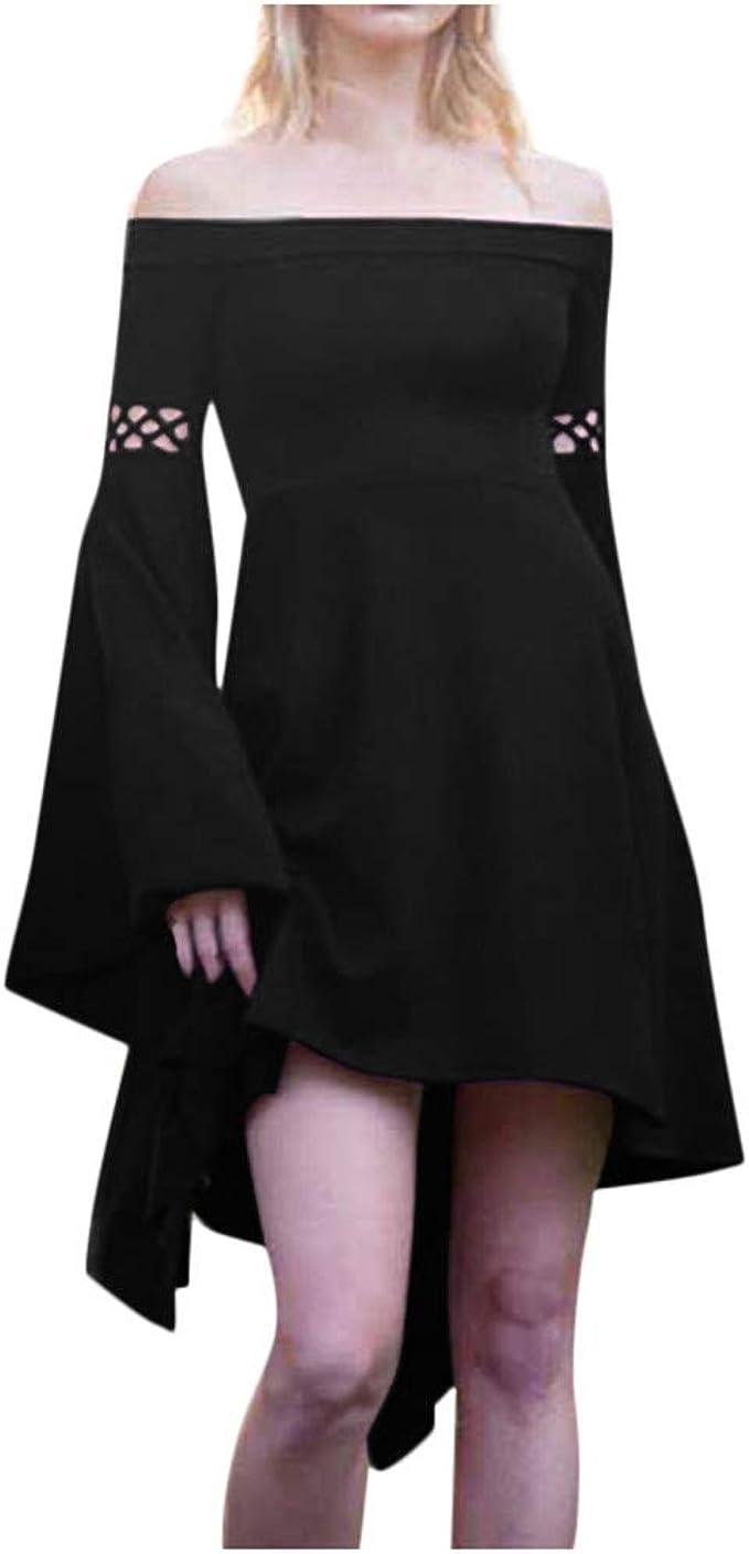 yoyorule Women Casual Top /& Dress Women Fashion Sleeveless Lace Patchwork Hem Casual Dress