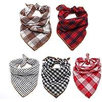 TRAVEL BUS Dog Bandana- 5pcs Washable Dog Bandanas Square Plaid Printing Dog Kerchief Set…