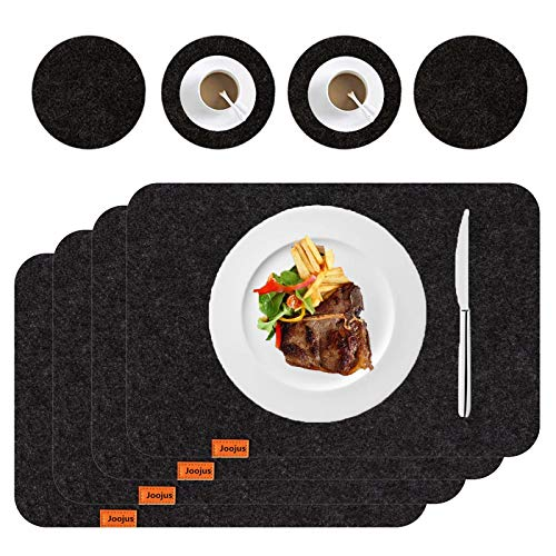 Joojus Felt Placemats Place Mats for Dinning Kitchen Table Heat-Resistant Anti-Skid Washable Table Mats Set, Set of 8 4…