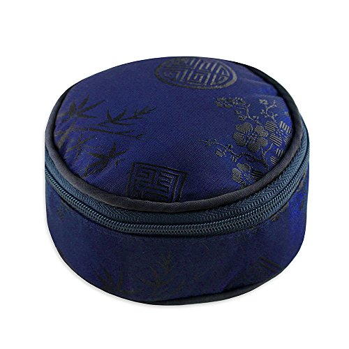 Blossom Jewelry Case - Travel Jewelry Case - Silk Jacquard (Cobalt Blue)
