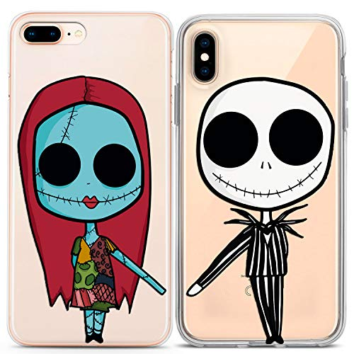 Lex Altern Couple iPhone Case Nightmare Before Christmas Xs Max X Xr 10 8 Plus 7 6s 6 SE 5s 5 Clear Tim Burton Girlfriend Her Present Phone Relationship Cover Print Teen Matching Kawaii TPU]()