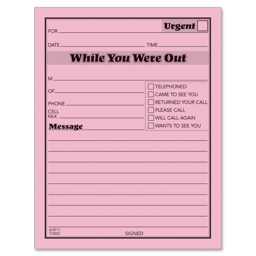 Wholesale CASE of 25 - Adams While You Were Out Message Pad-Message Pad,''While You Were Out'',4''x5'',50 Shts/PD,12/PK,PK