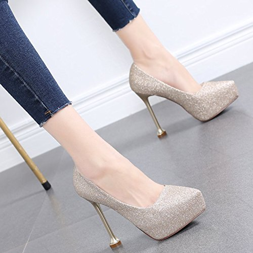 Golden Dinner Platform 37 High Elegant Wedding MDRW Pointed Shallow Spring Single Shoes Waterproof Mouth Lady Women Head Shoes Shoes Heels Shoes Leisure Work 12Cm 1qqXw7