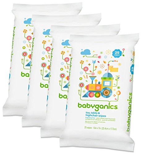 Babyganics Toy, Table & Highchair Wipes, 25 Count, 4 Pack (Fragrance Grooming Wipes)