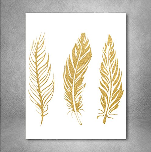 Feathers II Gold Foil Art Print Feather Nursery Gold Print Bedroom Nursery Room Wall Art Decor Gold Print, Feather Gold Print 8x10 Inches on A4 (Decor Gold Wall Feather)