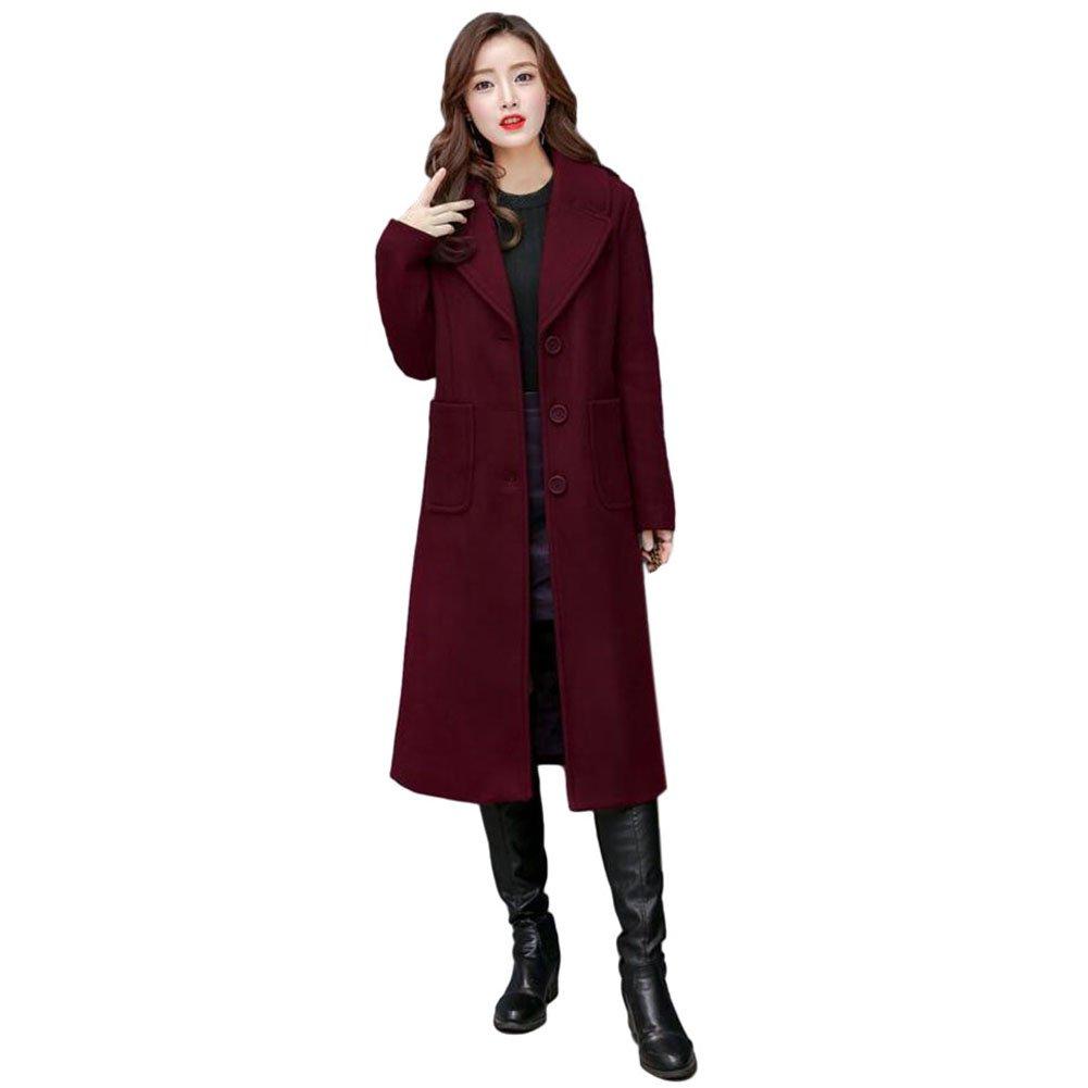 Meijunter Women Notched Lapel Button Wool Classic Pea Coat Long Overcoat Outwear
