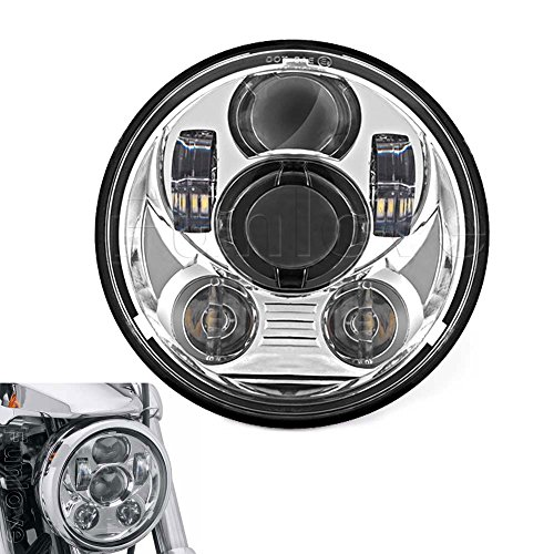 Funlove Chrome 5.75 Inch Round LED Projection Headlight for Harley Davidson Motorcycles Lights