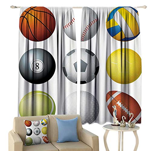 Lxldecor Sports Decor Curtains, Diversified Sports Balls Objects in Diamond or Circle Shape Recreational Exercise Illustration Window Drapes for Bedroom 2 Panels Set, 108'' W x 84'' L Multi