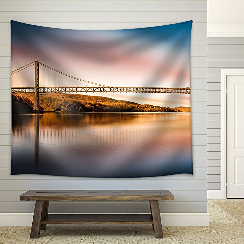 (wall26 - Bear Mountain Bridge After Sunset. Bear Mountain Bridge is a Toll Suspension Bridge in New York State - Fabric Wall Tapestry Home Decor - 51x60 inches)
