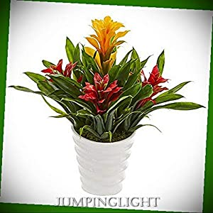 JumpingLight Bromeliad Artificial Plant in White Vase, Yellow Red Artificial Flowers Wedding Party Centerpieces Arrangements Bouquets Supplies 79