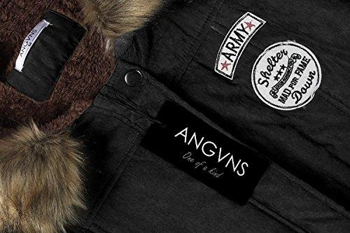 Epaissir Manteau ANGVNS Hiver Femmes Noir Capuche Fourrure Chaude avec Compressible xSqwgtq1