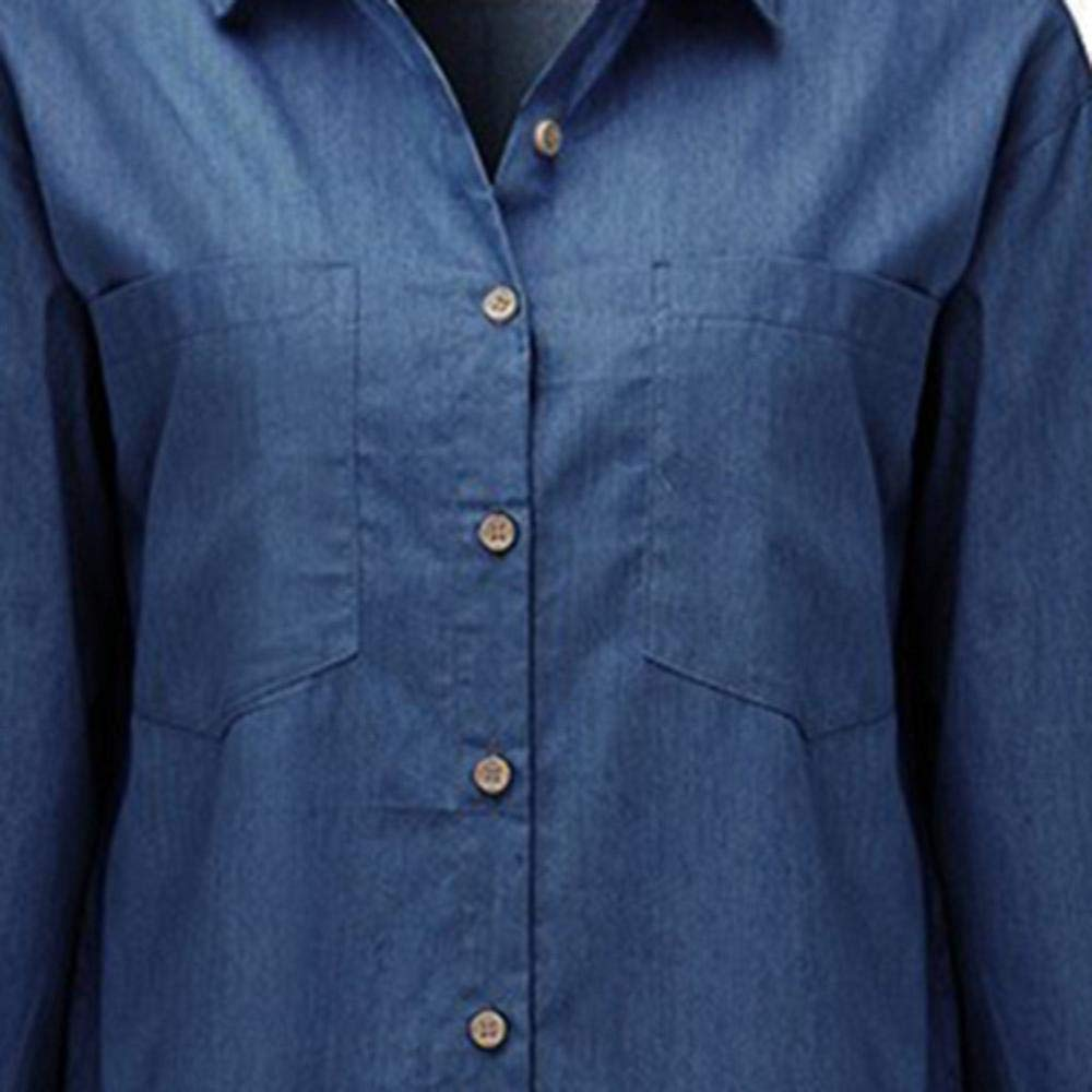 STORTO Womens Casual Long Sleeve Vintage Blue Denim Shirt Tops Blouse