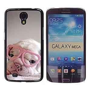 Cachorro corazón rosado Gafas lindo dulce - Metal de aluminio y de plástico duro Caja del teléfono - Negro - Samsung Galaxy Mega 6.3