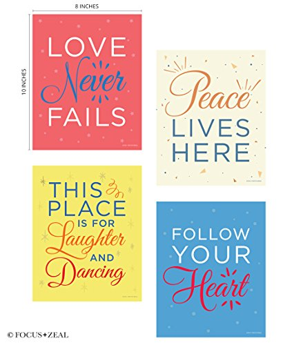 Quotes Motivational Inspirational Happiness Decorative Poster Housewarming Gift Print For Love  Peace  Laughter  Dancing  Follow Your Heart 8 X 10 Inch Set Of 4