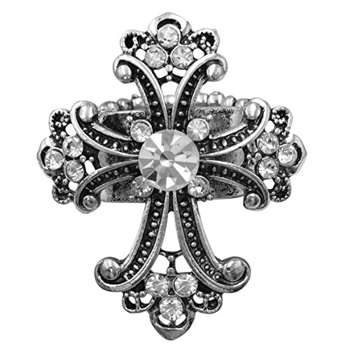 Gypsy Jewels Large Cross Rhinestone Statement Big Stretch Cocktail Ring (Silver Tone Swirl Clear)