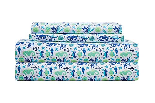 """Elite Home Products 90 GSM Microfiber Coastal Beach-Themed Printed Sheet Set, Queen, Clearwater Aqua - 90 GSM 100% polyester microfiber - softest touch yet! Queen Set includes: flat 90x102x4"""", fitted 60x80x12"""", 2 pillowcases 20x30 Fitted sheet is fully elastic - fitting mattresses up to 14"""" - sheet-sets, bedroom-sheets-comforters, bedroom - 51Dwg6RdbdL -"""