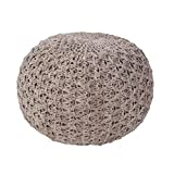 Jaipur Solid Pattern Tan Cotton Pouf, 20-Inch x 20-Inch x 14-Inch, Fungi Athena