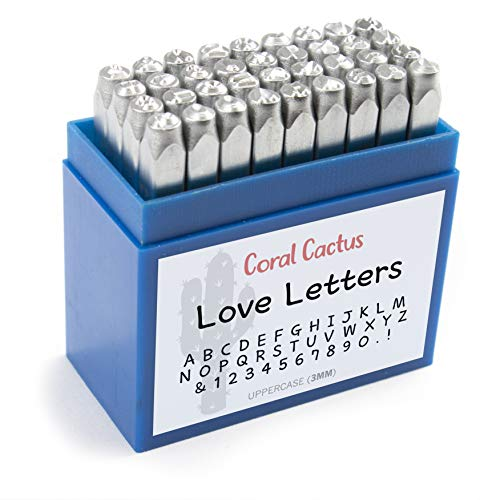 Custom Font Number and Letter Stamping Tool Case (36 Uppercase Stamps/Alphabet 0-9 & !) 1/8 inch (3mm) Letters, Numbers, Symbols - Hard Carbon Steel Tools - Stamp/Punch Metal, Jewelry, Leather, Wood]()