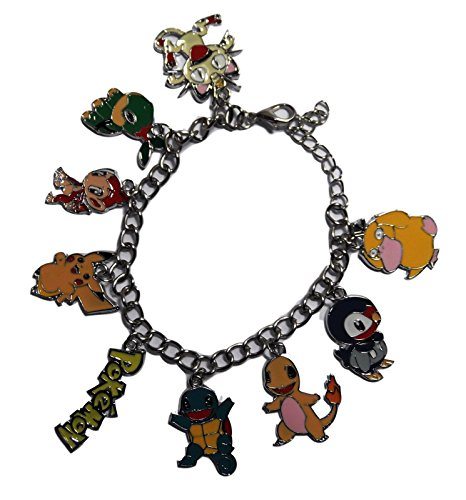 Pokemon 30th Anniversary ( 9 Themed Charms) Assorted Metal Charm BRACELET -