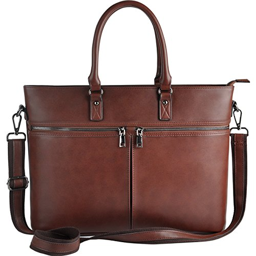 EDODAY Laptop Bag for Women,Business Computer Bags for Women Up to 15.6 Inch,Multi Pockets Zippered Laptop Tote,Coffee