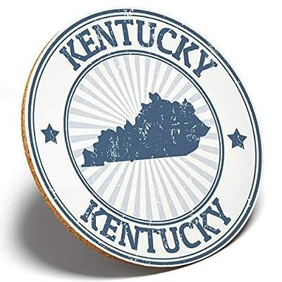 1 x Awesome Kentucky USA Map - Round Coaster Kitchen Student Kids Gift #4388