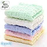 Gmer Baby Wipes Natural Organic Cotton Baby Muslin Washcloth - Soft Newborn Baby Face Towel and Muslin Washcloth for Sensitive Skin- Baby Registry, 6 Pack 10x10 inches.