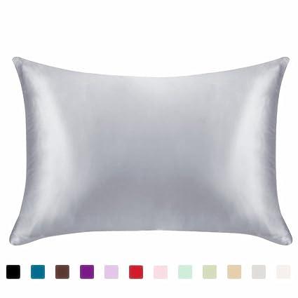 Black Satin Pillowcase Mesmerizing Amazon FLCA Luxury Satin Pillowcase Zipper Standard Size