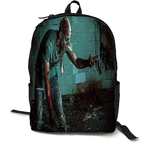 (Zombie Decor Outdoor 3 day package Dead Man in Old Abandoned House Nightmare Bloody Fantasy Art Scenery Suitable for school, outdoor sports 16.5 x 12.5 x 5.5 Inch Teal Charcoal Grey)