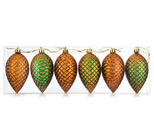 iPEGTOP Shatterproof Pinecone Hand Painted Glitter Gold Pine Cones Crafting Holiday Christmas Tree Decorations 95mm / 37 inch 6 Set
