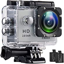 Action Camera FMAIS Full HD 1080P Waterproof Cam 2 Inch LCD Underwater 30m/98ft Diving 140° Wide-Angle Sports Camera with 2 Rechargeable Batteries and Mounting Accessories Kits(Silver)
