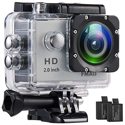 Action Camera FMAIS Full HD 1080P Waterproof Cam 2 Inch LCD Underwater 30m/98ft Diving 140° Wide-Angle Sports Camera 2 Rechargeable Batteries Mounting Accessories Kits - Silver