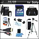 32GB Accessory Kit For Sony HDR-CX430V, HDR-PJ430V HD Camcorder Includes 32GB High Speed SD Memory Card + Replacement (2300Mah) NP-FV70 Battery + Ac/Dc Charger + Deluxe Case + Tripod + 3PC Filter Kit (UV-CPL-FLD) + Micro HDMI Cable + USB 2.0 SD Reader ++