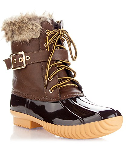 Brown Faux Fur Boots (ROF Women's Rubber Mid Calf Warm Water Resistant Faux Fur Fleece Lined Hiking Snow Boots NEW BROWN)