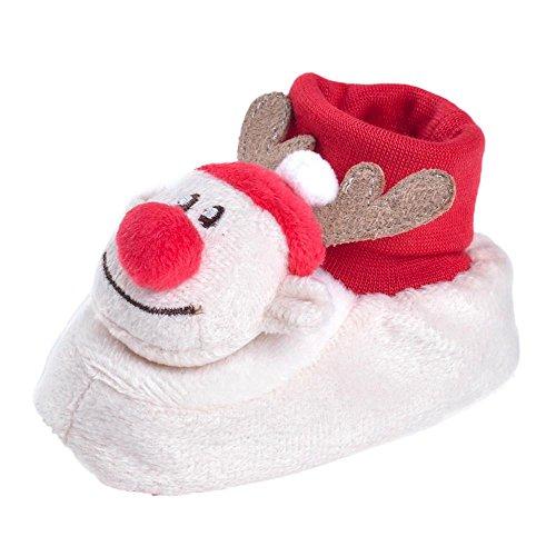 Huhu833 Neugeborene Säuglingsbaby Mädchen Soft Crib Schuhe Kleinkind Stiefel, Weihnachts rotwild Karikatur Krippe Schuhe, weiche alleinige Anti Rutsch Schuhe Weiß