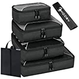 6 Set Packing Cubes-(4 Cubes + 1 Laundry Bag + 1 Shoes Bag)Travel Luggage Packing Organizers&Compression Pouches(Black)…