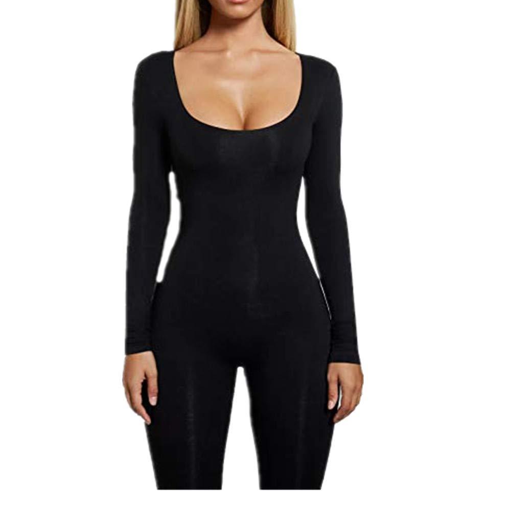 Black3 TYFeng Women's Deep V Sleeveless Long Pants Plain Pocket Summer Drawstring Waisted Jumpsuits Rompers