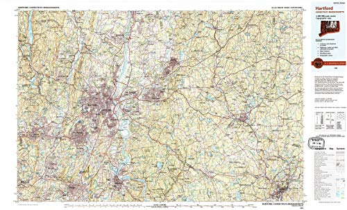 YellowMaps Hartford CT topo map, 1:100000 Scale, 30 X 60 Minute, Historical, 1994, Updated 1995, 24.1 x 39.9 in - Tyvek