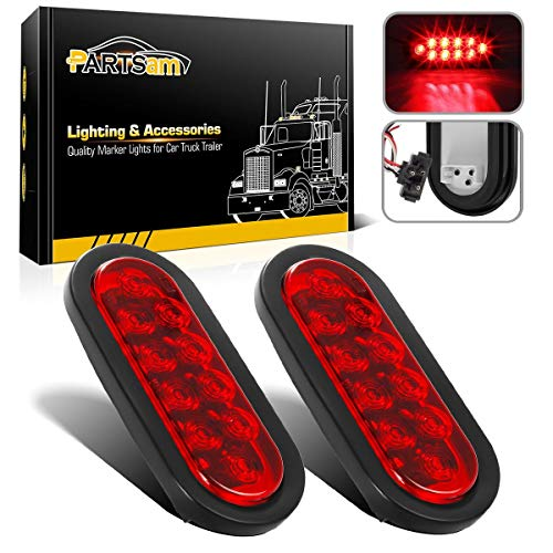(Partsam 2 Pcs 6 Inch Oval Trailer Tail Lights Red 10 LED, 6
