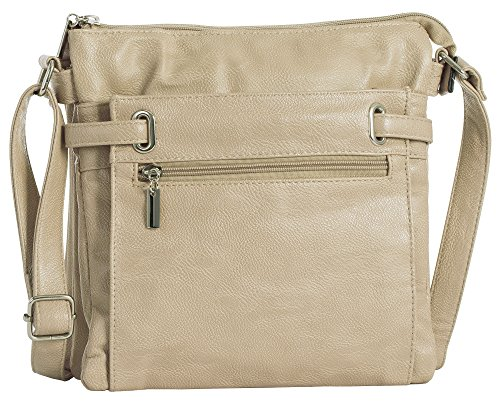 BHBS Mittelgroße Damen Schultertasche mit Mehreren Taschen Umhängetasche 27x27x4 cm (BxHxT) Beige