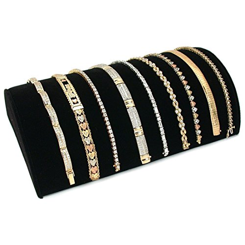 Half Moon Bracelet Display - SODIAL(R) Black Flannel Half Moon Bracelet Showcase Display Stand