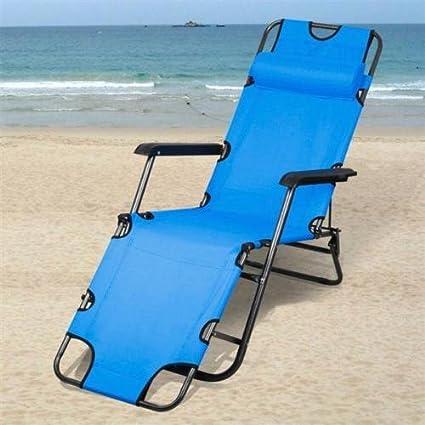 Portable Folding Garden Lounge Chair Beach Patio Pool Yard Recliner Outdoor  Blue
