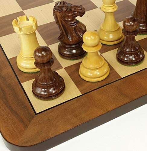 Weighted Pieces Chess Staunton Double (HPL Sheesham 4 5/8 inch King Double Queens Large Anderssen Staunton Chess Men Set with 19 inch Walnut and Maple Color Board - NO Storage)