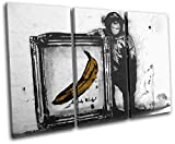Bold Bloc Design - Andy Warhol Banana Monkey Graffiti 120x80cm TREBLE Canvas Art Print Box Framed Picture Wall Hanging - Hand Made In The UK - Framed And Ready To Hang