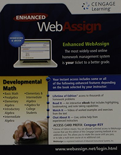 (WebAssign, 1 term (6 months) Printed Access Card for Developmental Math, Single-Term Courses)