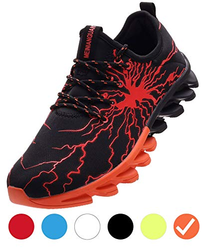 Boys Shoes Gym (BRONAX Boys Running Shoes Slip on Casual Sneakers Trail Walking Jogging Athletic Sport Gym Workout Fitness Tennis Jog Shoes for Young Mens Orange Size 6)